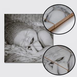5 x 5 cm foto op hout